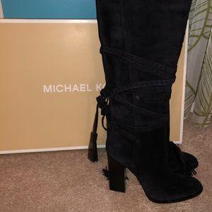 Michael Kors Jessa knee high suede black boots
